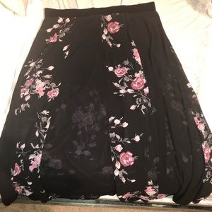 TORRID: Floral print long sheer skirt with shorts